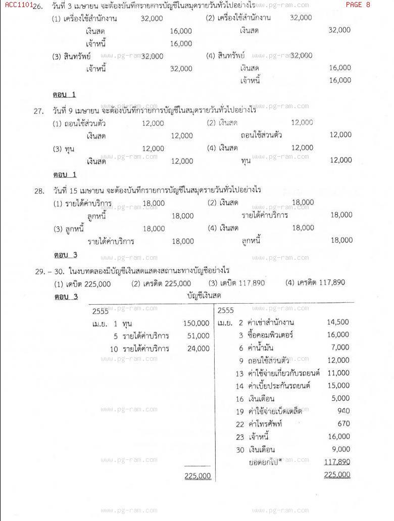 แนวข้อสอบ ACC1101 การบัญชีขั้นต้น 1 ม.ราม หน้าที่ 8