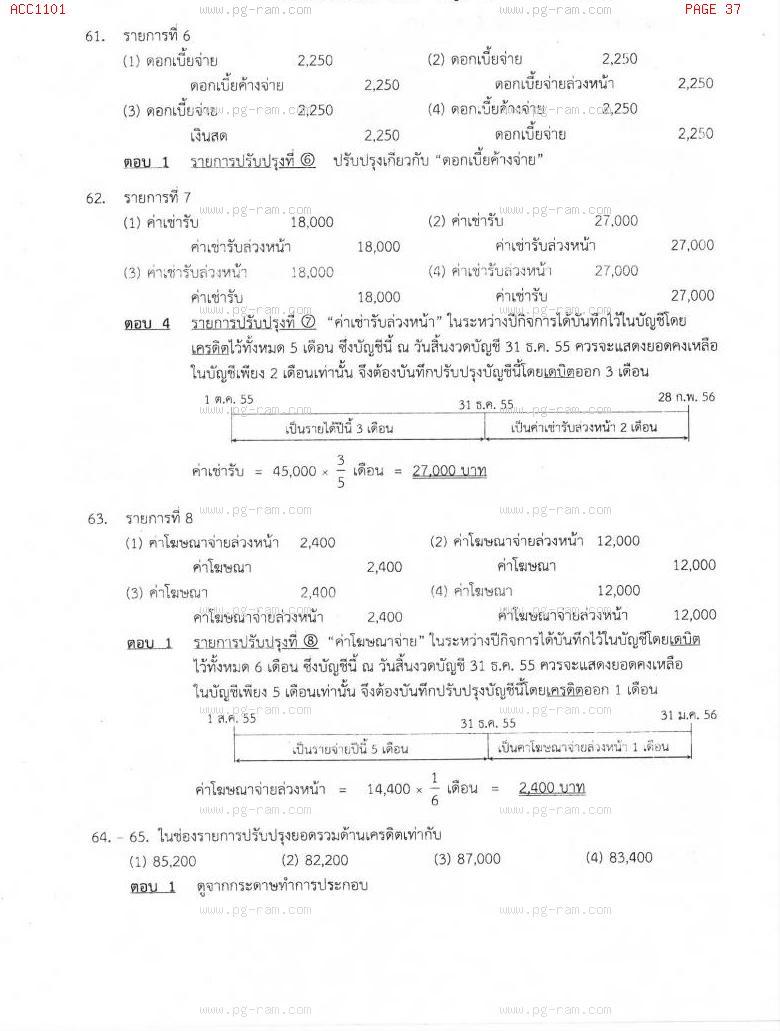 แนวข้อสอบ ACC1101 การบัญชีขั้นต้น 1 ม.ราม หน้าที่ 37