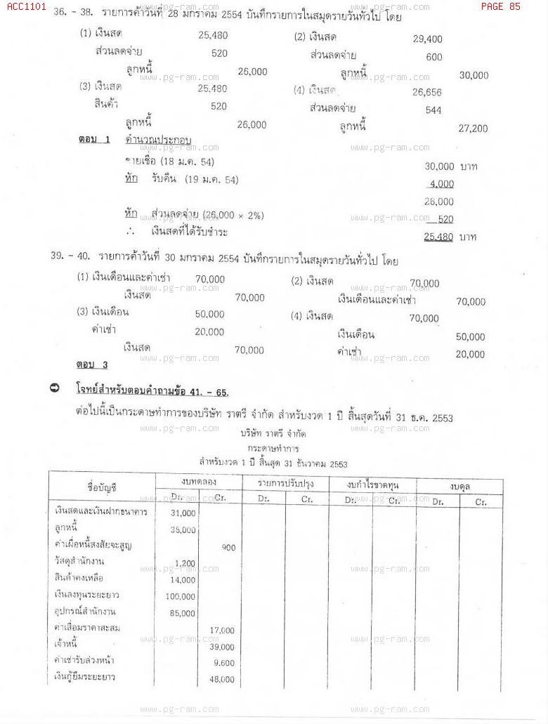 แนวข้อสอบ ACC1101 การบัญชีขั้นต้น 1 ม.ราม หน้าที่ 85