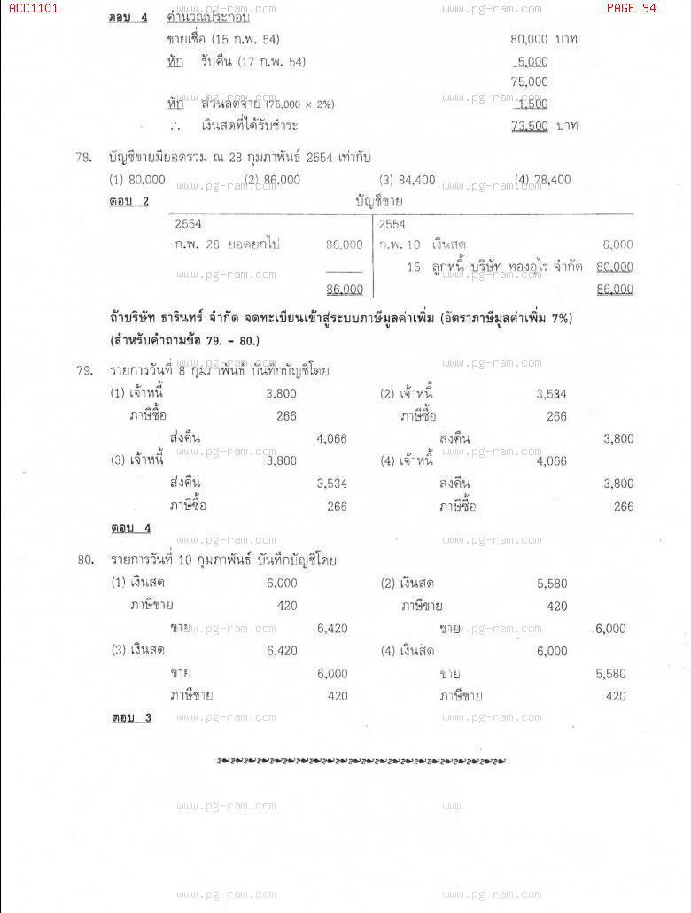 แนวข้อสอบ ACC1101 การบัญชีขั้นต้น 1 ม.ราม หน้าที่ 94