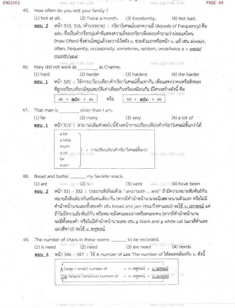 แนวข้อสอบ ENG1001 ประโยคภาษาอังกฤษพื้นฐานและศัพท์จำเป็นในชีวิตประจำวัน ม.ราม หน้าที่ 49