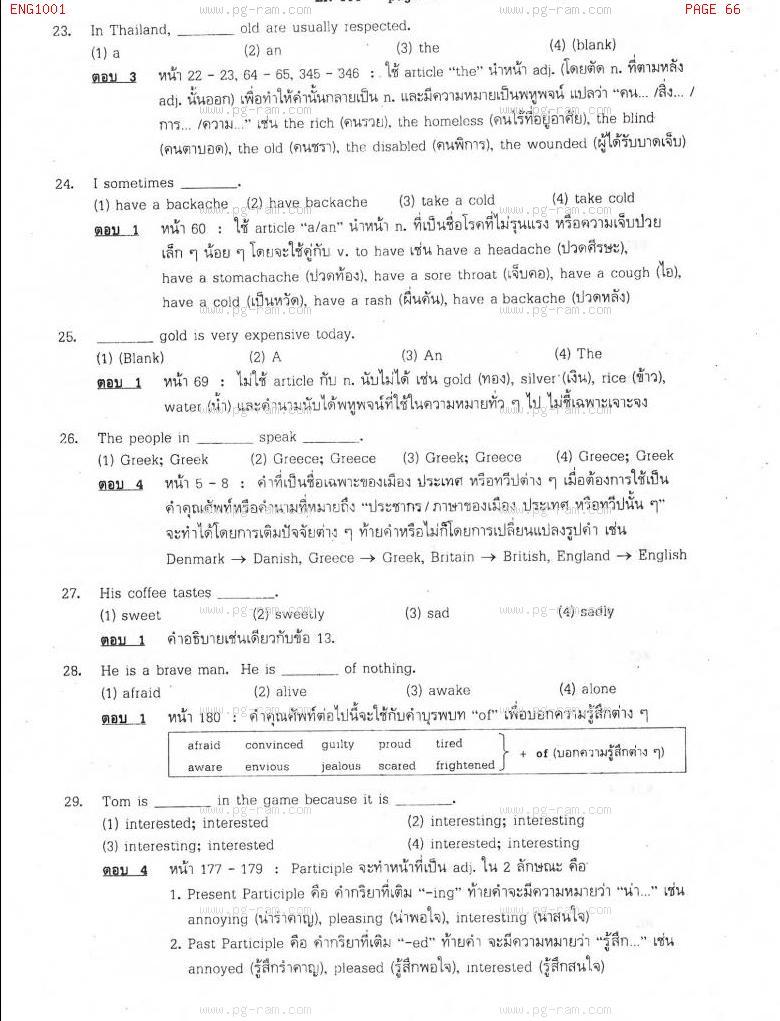 แนวข้อสอบ ENG1001 ประโยคภาษาอังกฤษพื้นฐานและศัพท์จำเป็นในชีวิตประจำวัน ม.ราม หน้าที่ 66