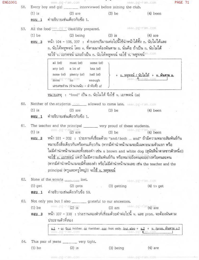 แนวข้อสอบ ENG1001 ประโยคภาษาอังกฤษพื้นฐานและศัพท์จำเป็นในชีวิตประจำวัน ม.ราม หน้าที่ 71