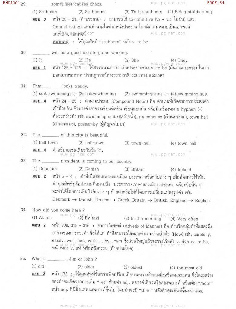 แนวข้อสอบ ENG1001 ประโยคภาษาอังกฤษพื้นฐานและศัพท์จำเป็นในชีวิตประจำวัน ม.ราม หน้าที่ 84