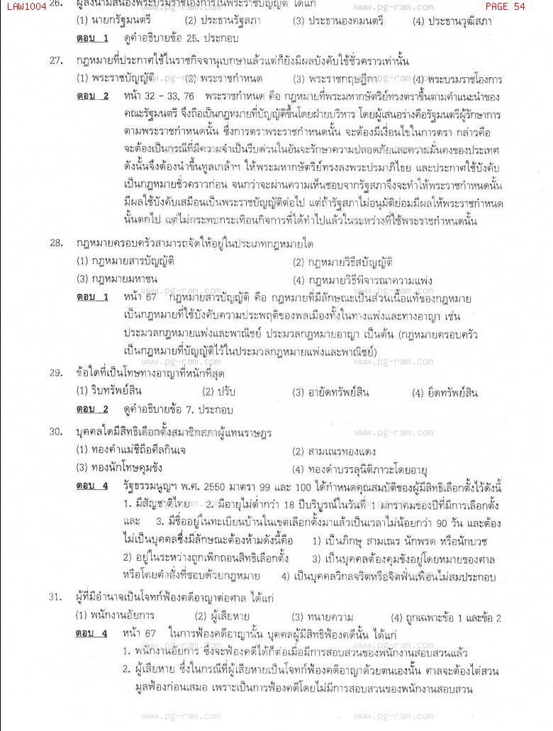 แนวข้อสอบ LAW1004 ความรู้เบื้องต้นเกี่ยวกับกฏหมายทั่วไป ม.ราม หน้าที่ 54