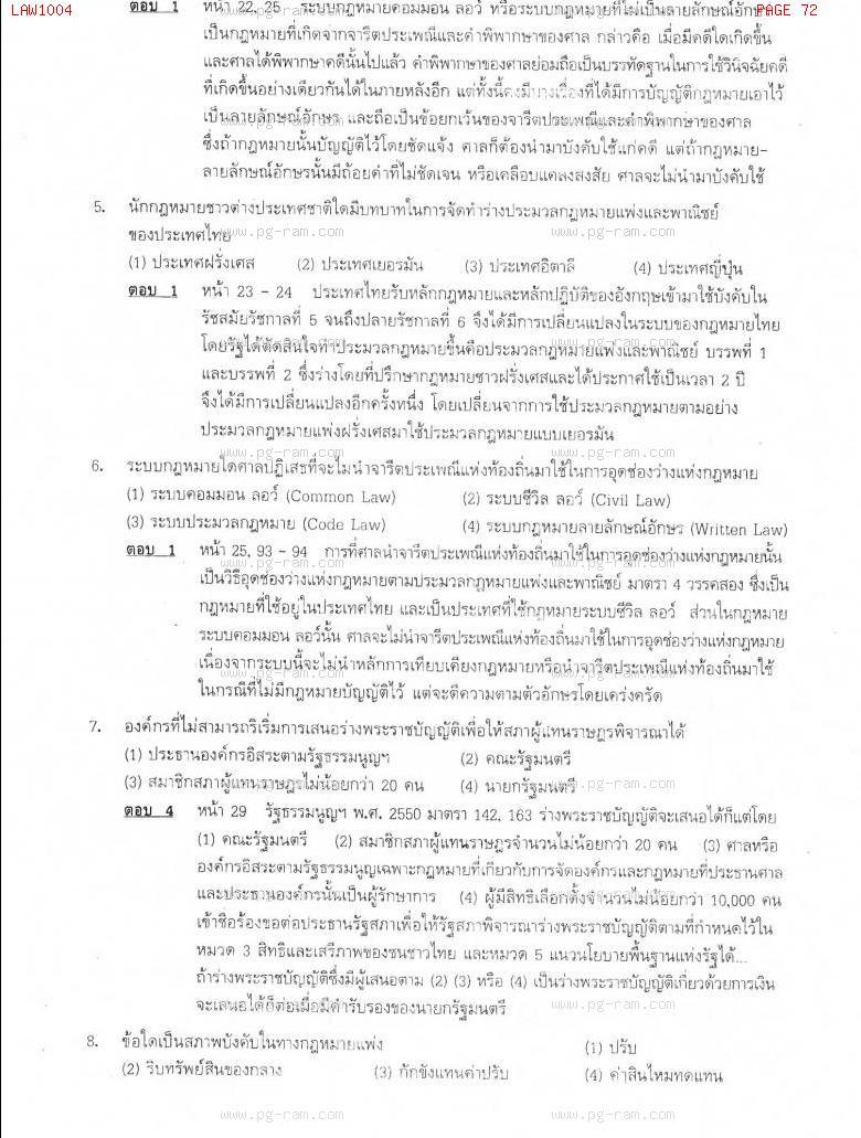 แนวข้อสอบ LAW1004 ความรู้เบื้องต้นเกี่ยวกับกฏหมายทั่วไป ม.ราม หน้าที่ 72