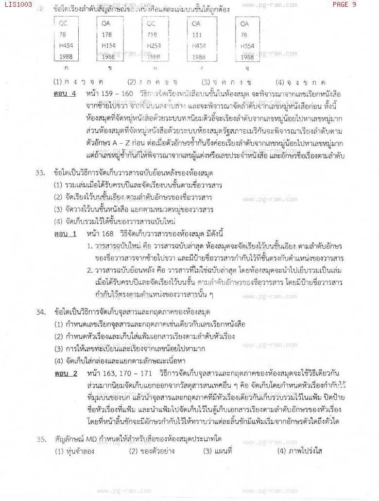 แนวข้อสอบ LIS1003 การใช้ห้องสมุด ม.ราม หน้าที่ 9