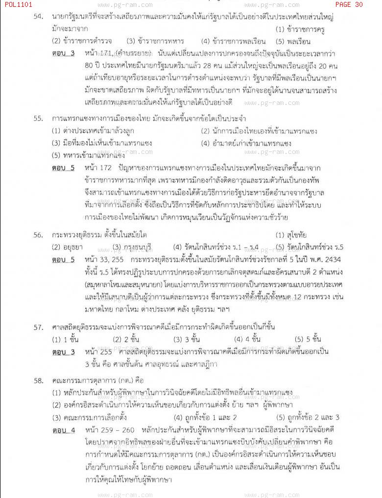 แนวข้อสอบ POL1101 การเมืองการปกครองไทย ม.ราม หน้าที่ 30