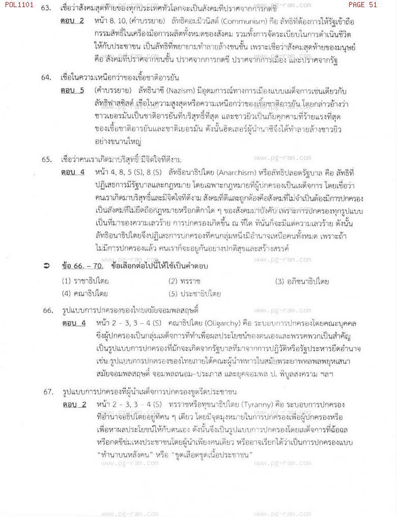 แนวข้อสอบ POL1101 การเมืองการปกครองไทย ม.ราม หน้าที่ 51