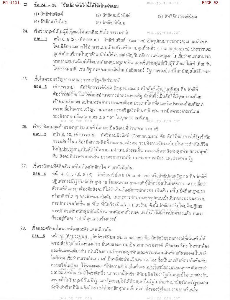 แนวข้อสอบ POL1101 การเมืองการปกครองไทย ม.ราม หน้าที่ 63