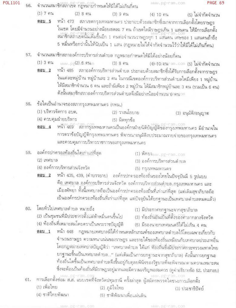 แนวข้อสอบ POL1101 การเมืองการปกครองไทย ม.ราม หน้าที่ 69
