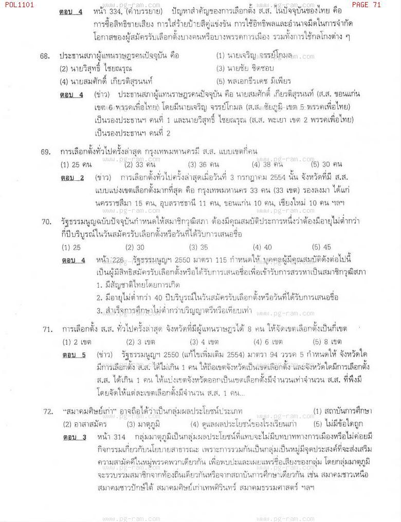 แนวข้อสอบ POL1101 การเมืองการปกครองไทย ม.ราม หน้าที่ 71