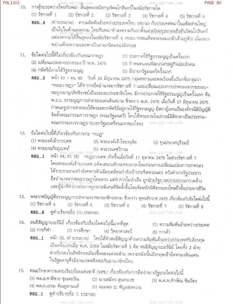 แนวข้อสอบ POL1101 การเมืองการปกครองไทย ม.ราม หน้าที่ 80