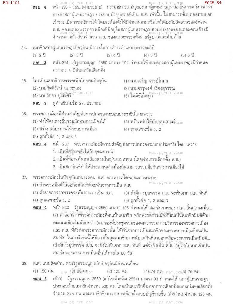 แนวข้อสอบ POL1101 การเมืองการปกครองไทย ม.ราม หน้าที่ 84