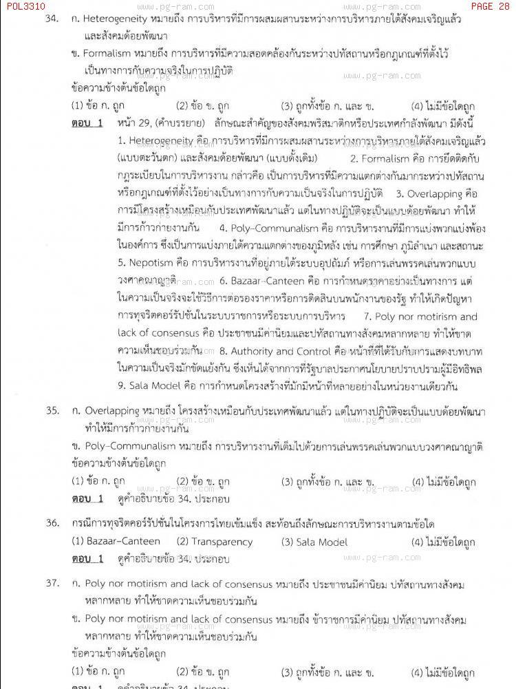 แนวข้อสอบ POL3310 การบริหารรัฐกิจเปรียบเทียบ ม.ราม หน้าที่ 28