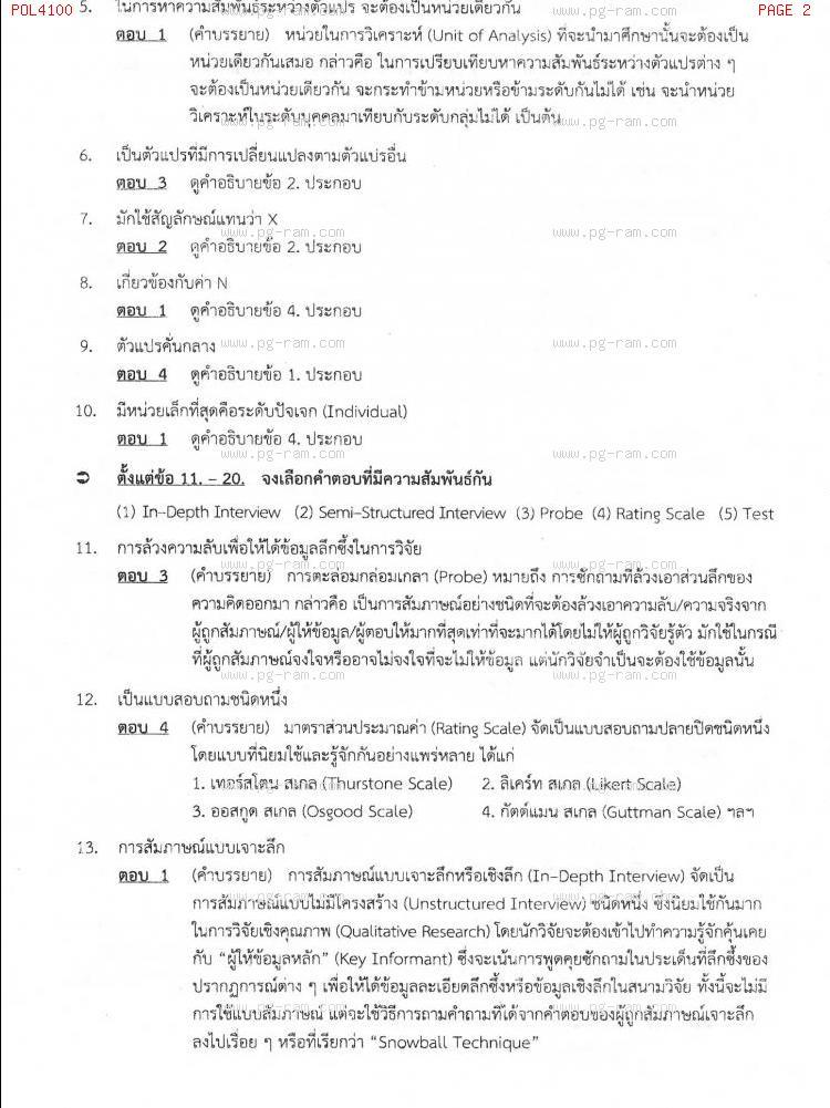 แนวข้อสอบ POL4100 หลักและวิธีการวิจัยทางรัฐศาสตร์ ม.ราม หน้าที่ 2