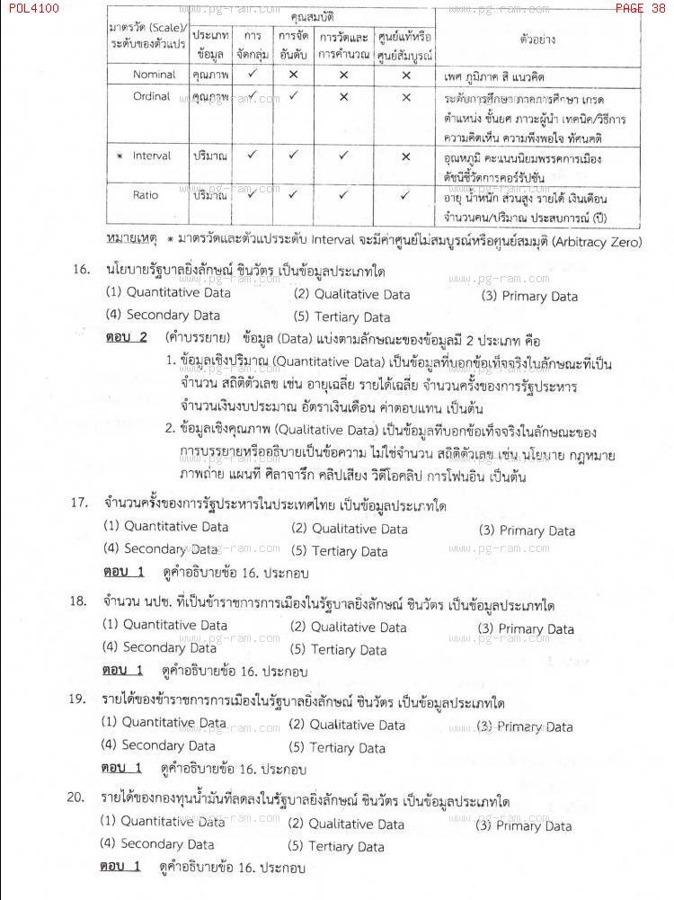 แนวข้อสอบ POL4100 หลักและวิธีการวิจัยทางรัฐศาสตร์ ม.ราม หน้าที่ 38