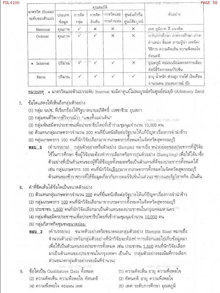 แนวข้อสอบ POL4100 หลักและวิธีการวิจัยทางรัฐศาสตร์ ม.ราม หน้าที่ 58