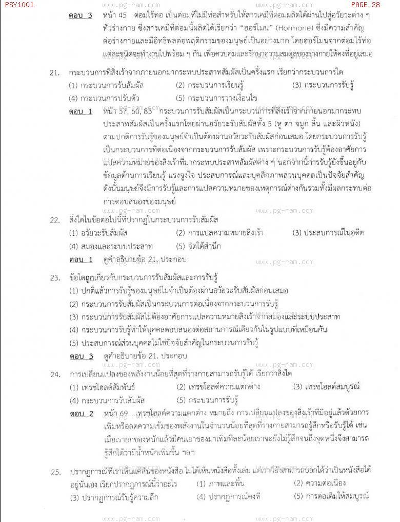 แนวข้อสอบ PSY1001 จิตวิทยาทั่วไป ม.ราม หน้าที่ 28
