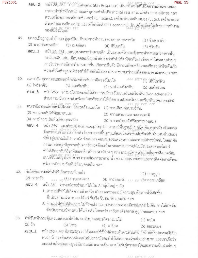 แนวข้อสอบ PSY1001 จิตวิทยาทั่วไป ม.ราม หน้าที่ 33