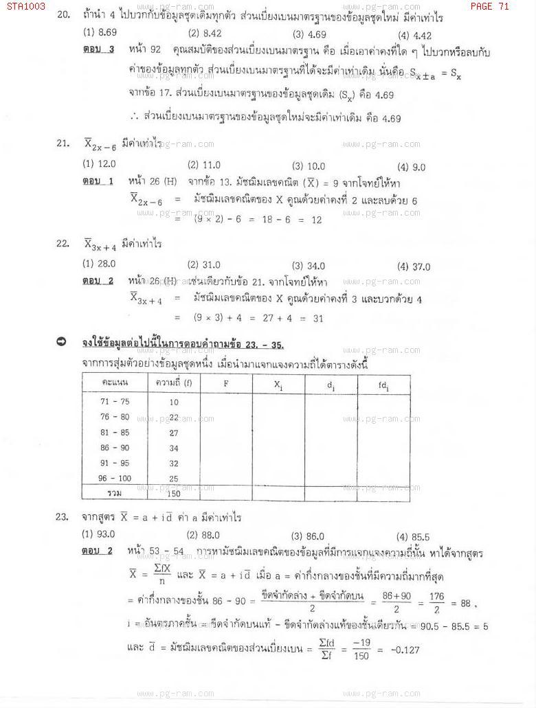 แนวข้อสอบ STA1003 สถิติเบื้องต้น ม.ราม หน้าที่ 71