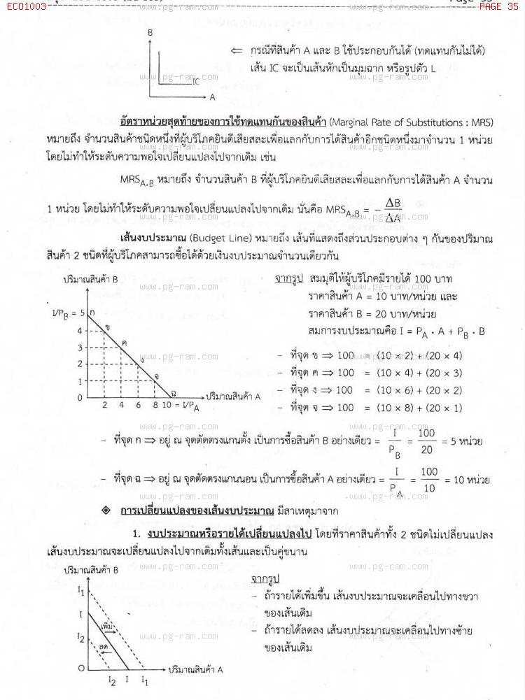 ECO1003 เศรษฐศาสตร์ทั่วไป หน้าที่ 35