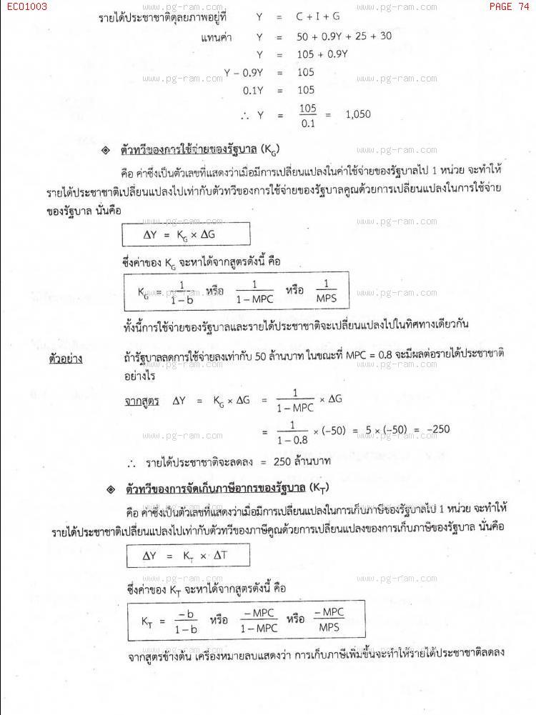ECO1003 เศรษฐศาสตร์ทั่วไป หน้าที่ 74