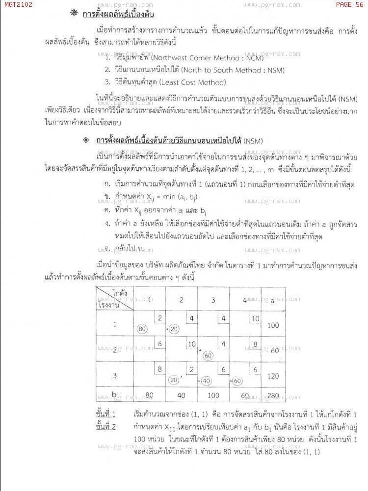 MGT2102 หลักการจัดการดำเนินงานและโซ่อุปทาน หน้าที่ 56