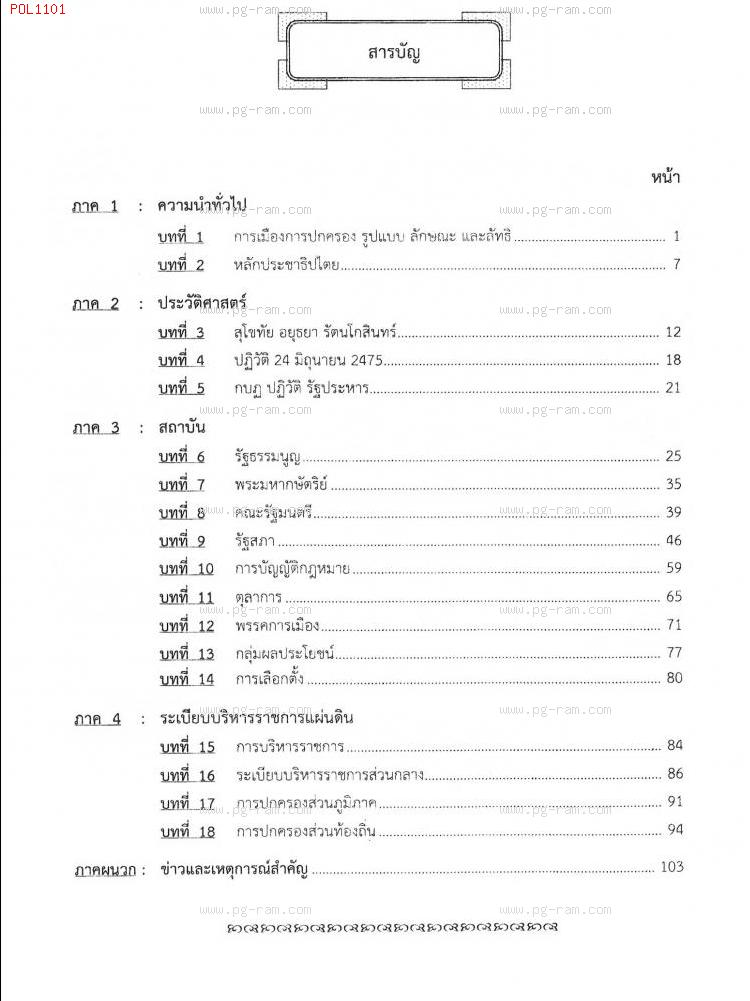 POL1101 การเมืองการปกครองไทย สารบัญ