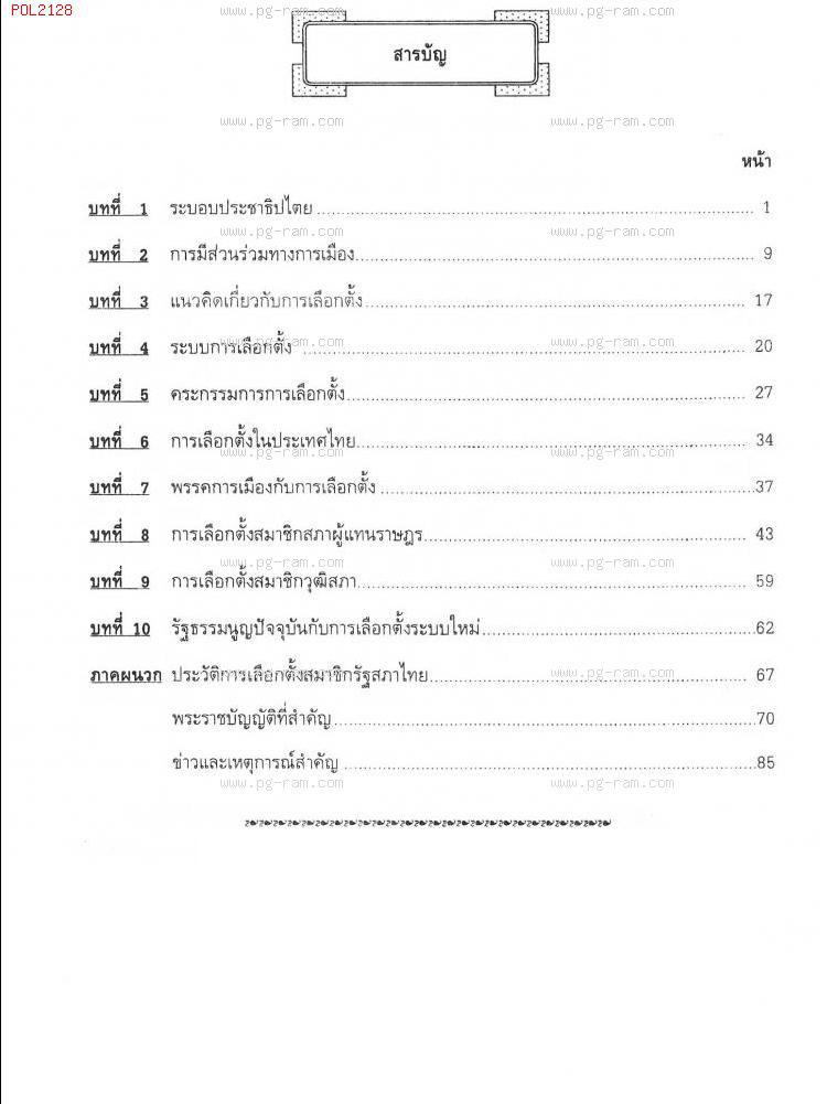 POL2128 การเลือกตั้ง สารบัญ