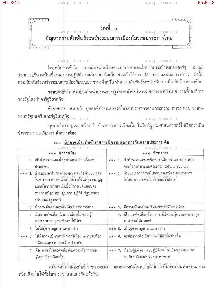 POL3311 การเมืองและระบบราชการ หน้าที่ 18